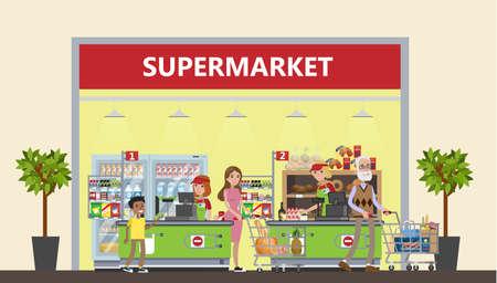 Supermarket in mall design concept.