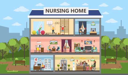 Nursing home interior design concept.