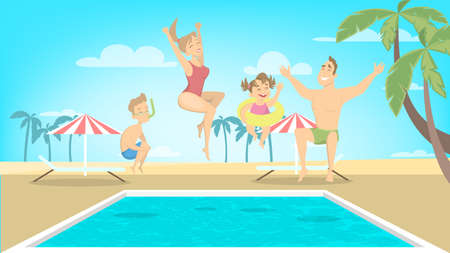 Family jump in pool illustration.
