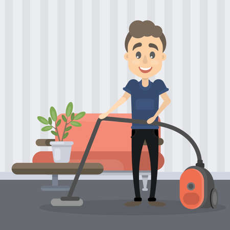 Man vacuum cleaning image illustration