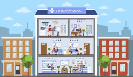 Tierarztklinik, die Innenarchitekturkonzept errichtet. Vektorgrafik
