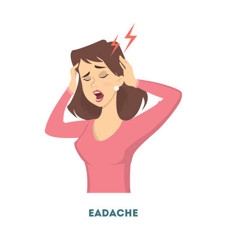 Woman with diabetes symptom of headache. Çizim