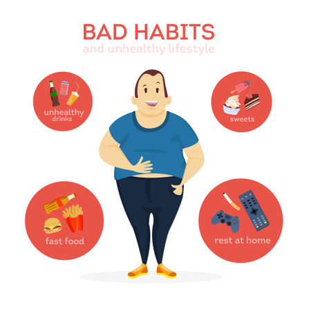 Cartoon man image and bad habits illustration