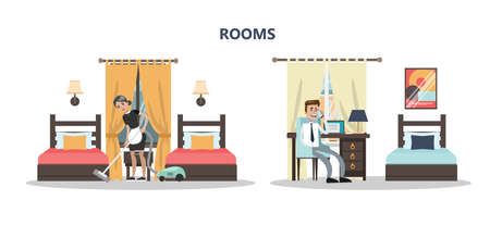 Rooms in hotel concept design.