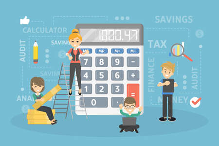 People calculating the earnings image illustration Illustration