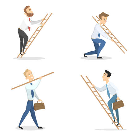 Cartoon man climbing ladders image illustration