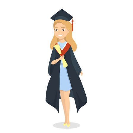 Isolated graduated female student with diploma on white.