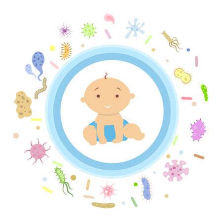 Bebé bajo escudo. Ilustración de vector