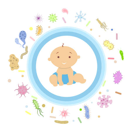 Baby boy under shield. Illustration