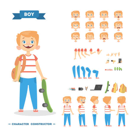 Boy character set illustration.