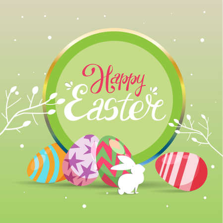 Happy Easter card template with bunny and Easter eggs. Illustration