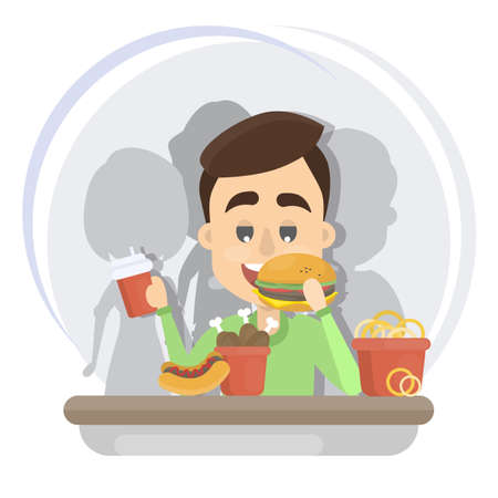 Man eating fast food. Vectores