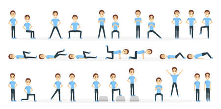 Man doing exercise illustration. Stock Illustratie