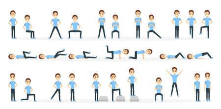 Man doing exercise illustration. Illustration