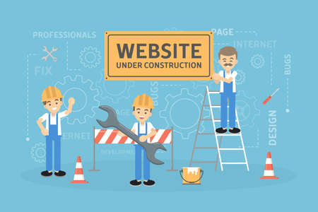 Site under construction with workers. Stock Illustratie