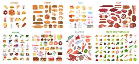 Alle soorten voedsel in set.