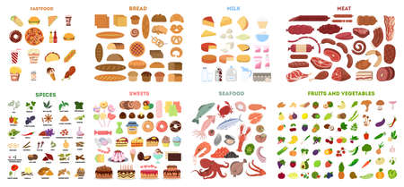 All types of food in set.