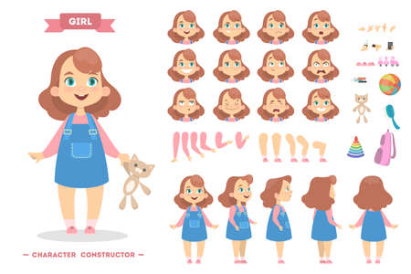 Girl character set. Vectores