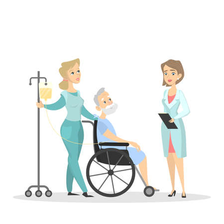 Doctor and nurse with patient on wheelchair. Illustration