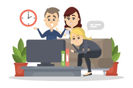 Family watching TV. Illustration