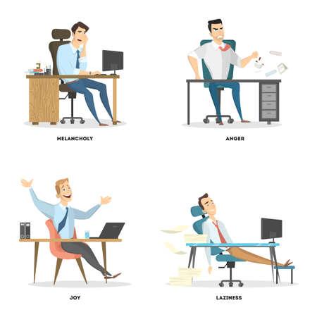 Office emotions set.