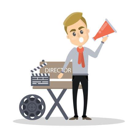 Isolated film director illustration.