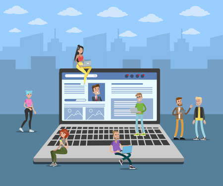 Laptop social media with people around it.