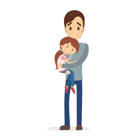 Father calming sad girl illustration.