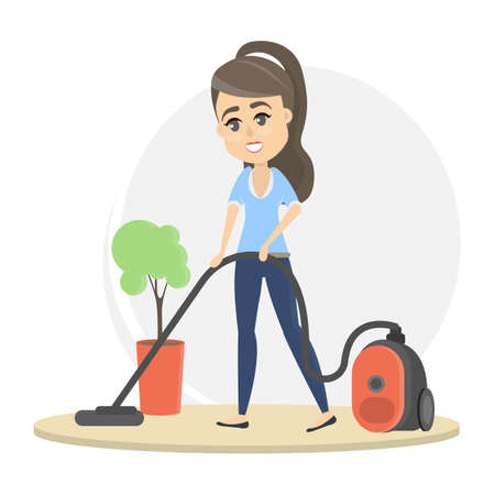 Woman vacuum cleaning illustration.