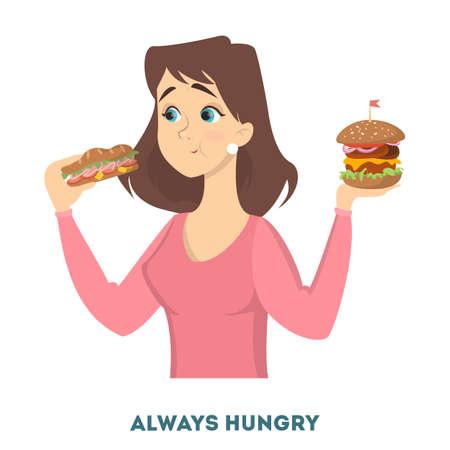 Woman diabetes symptoms illustration.