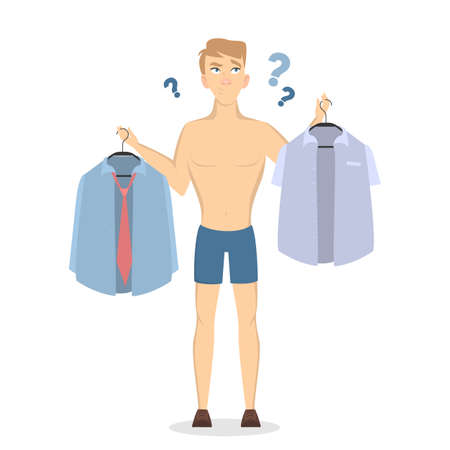 Man holding two polo thinking what to wear illustration.