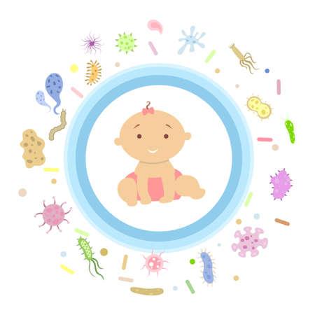 Baby girl under shield. Stock Illustratie