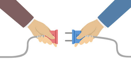 Business connection concept, two hands with plug  illustration. Stock Illustratie