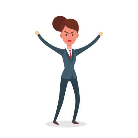 Isolated angry businesswoman illustration on white background.