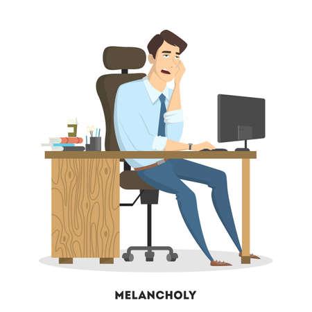 Emotional man at office. Illustration