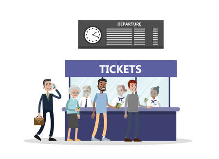 Buying tickets at terminal illustration on white background.