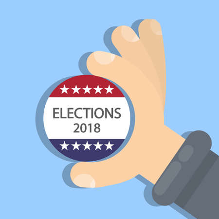 American election campaign illustration on blue background.