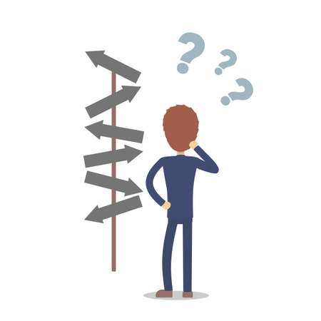 Man trying to choose. Illustration