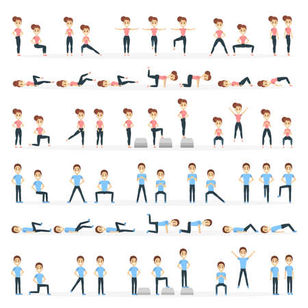 People doing fitness. Stock Illustratie