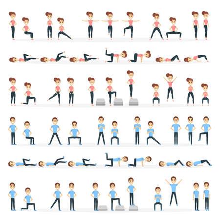 People doing fitness. Illustration