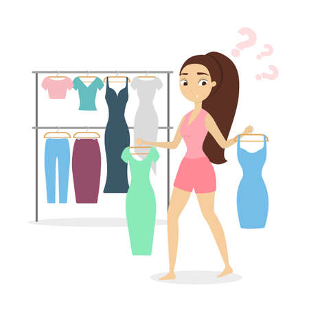 Woman deciding what to wear.