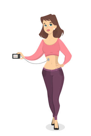 Woman with glucometer.