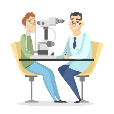 Checking the eyesight. 版權商用圖片 - 98092727