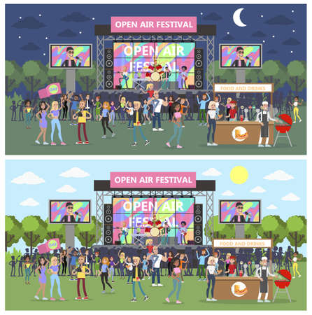 Open air festival with group of people partying illustration. Vectores