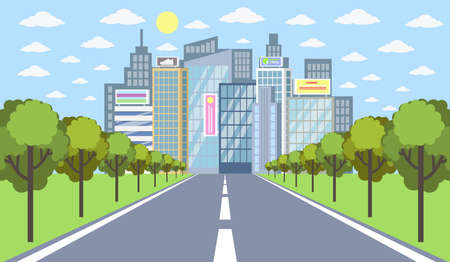 Road to city with buildings, trees and sun illustration.
