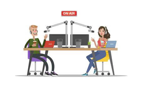 Radio djs on air. Stock Illustratie