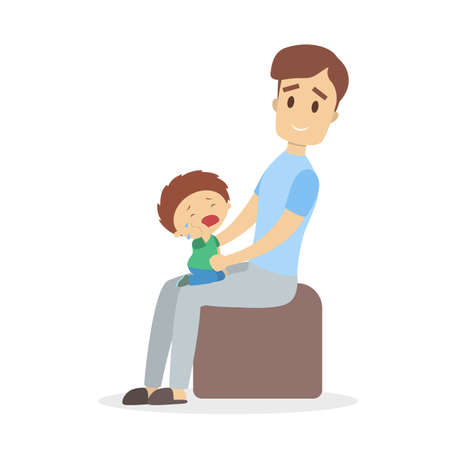 Father sitting in the chair calming sad boy illustration.