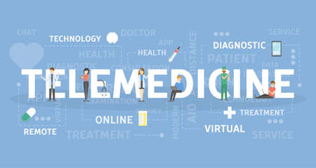 Tele-medicine concept with doctor, pill, tablet  illustration.