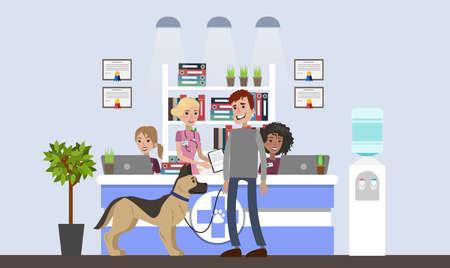 Vet clinic illustrations interior. Stock Illustratie