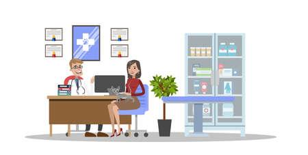 Vet clinic illustrations interior. 向量圖像